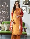 image of Viscose Fabric Festive Wear Fancy Embroidered Palazzo Suit In Orange