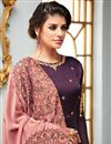 photo of Georgette Party Style Floor Length Anarkali Suit With Embroidered Dupatta In Wine Color