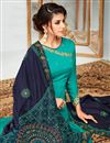 photo of Party Wear Floor Length Cyan Georgette Anarkali Dress With Embroidered Dupatta