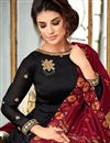 photo of Party Wear Floor Length Georgette Anarkali Suit In Black With Embroidered Dupatta
