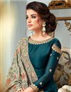 photo of Party Wear Floor Length Teal Georgette Anarkali Dress With Embroidered Dupatta