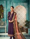 image of Designer Straight Cut Georgette Purple Fancy Salwar Suit With Heavy Dupatta