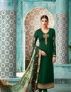 image of Georgette Function Wear Dark Green Straight Cut Dress With Heavy Dupatta
