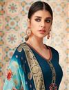 photo of Georgette Function Wear Teal Straight Cut Embroidered Dress With Heavy Dupatta