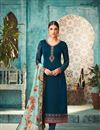 image of Georgette Function Wear Teal Straight Cut Embroidered Dress With Heavy Dupatta