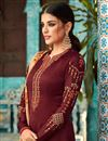 photo of Straight Cut Function Wear Georgette Suit In Maroon With Embroidered Fancy Dupatta