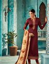 image of Straight Cut Function Wear Georgette Suit In Maroon With Embroidered Fancy Dupatta