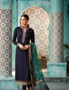 image of Georgette Function Wear Navy Blue Straight Cut Dress With Heavy Dupatta