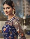 photo of Navy Blue Designer Net Fabric Function Wear Floor Length Anarkali Dress