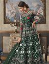 image of Dark Green Function Wear Designer Long Length Anarkali Suit In Net Fabric