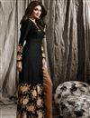 image of Shilpa Shetty Featuring Black Color Raw Silk Fabric Designer Salwar Suit With Embroidery Work