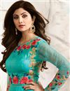 photo of Turquoise Color Embroidered Raw Silk And Net Fabric Party Wear Long Anarkali Salwar Kameez Featuring Shilpa Shetty