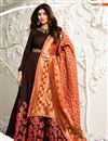 image of Brown Color Embroidered Raw Silk Fabric Party Wear Long Anarkali Salwar Kameez Featuring Shilpa Shetty