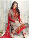 photo of Straight Cut Georgette Salwar Kameez In Chikoo Color