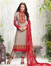image of Designer Straight Cut Georgett Salwar Suit In Chikoo Color