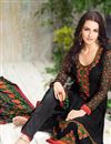 photo of Designer Embroidered Georgette Suit In Black Color