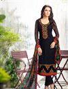image of Straight Cut Georgette Salwar Kameez In Black Color