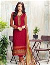 image of Designer Embroidered Georgette Suit In Dark Pink Color