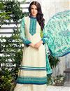 image of Designer Embroidered Georgette Suit In Off White Color