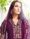 photo of Charming Purple Color Georgette Fabric Designer Salwar Kameez