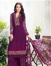 image of Stylish Purple Color Designer Party Wear Salwar Suit In Georgette Fabric