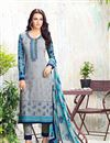 image of Designer Straight Cut Georgett Salwar Suit In Grey Color