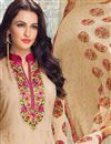 photo of Straight Cut Georgette Salwar Kameez In Beige Color