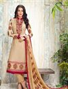 image of Straight Cut Georgette Salwar Kameez In Beige Color