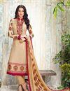 image of Straight Cut Georgette Salwar Kameez In Beige Color