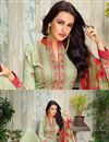 photo of Straight Cut Georgette Salwar Kameez In Mehendi Green Color