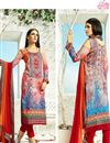 image of Digital Print Pakistani Cotton Salwar Kameez In Orange Color