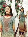 image of Digital Print Pakistani Style Cotton Salwar Kameez In Mehendi Green Color