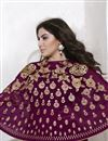 photo of Embroidered Georgette And Net Fabric Long Length Magenta Color Anarkali Salwar Suit