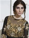 photo of Georgette Fabric Long Length Anarkali Salwar Suit With Embroidery In Black And Beige Color