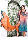 image of Superb Orange And Cyan Color Stright-Cut Designer Salwar Suit