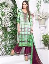 image of Green Color Party Wear Palazzo Suit In Satin Fabric