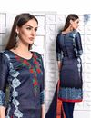 photo of Party Wear Designer Satin Salwar Kameez In Blue Color