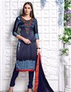 image of Party Wear Designer Satin Salwar Kameez In Blue Color