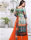 photo of Party Wear Designer Palazzo Satin Salwar Kameez In Green And Orange Color