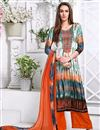 image of Party Wear Designer Palazzo Satin Salwar Kameez In Green And Orange Color