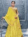 image of Embroidered Banarasi Silk Yellow Function Wear Lehenga