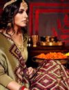 photo of Golden And Maroon Color Printed Party Wear Saree In Fancy Fabric