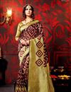 image of Fancy Fabric Party Wear Saree In Golden And Maroon Color