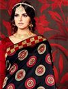 photo of Black And Red Color Printed Party Wear Saree In Fancy Fabric