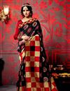 image of Black And Red Color Printed Party Wear Saree In Fancy Fabric
