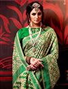 photo of Cream And Green Color Printed Party Wear Saree In Fancy Fabric