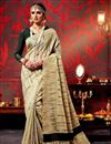 image of Stylish Printed Party Wear Cream Color Saree In Fancy Fabric