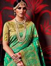 photo of Printed Party Wear Fancy Fabric Saree In Green Color