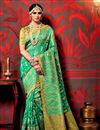 image of Printed Party Wear Fancy Fabric Saree In Green Color