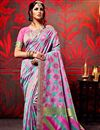 image of Fancy Fabric Party Wear Saree In Pink And Cyan Color